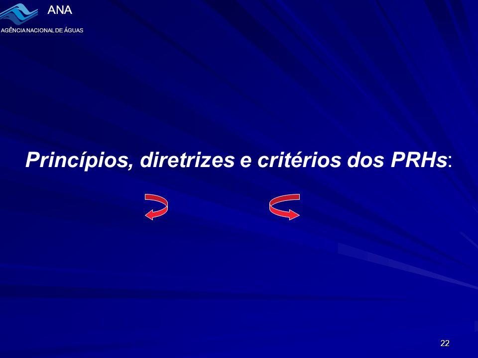 ANA AGÊNCIA NACIONAL DE ÁGUAS 22 Princípios, diretrizes e critérios dos PRHs: