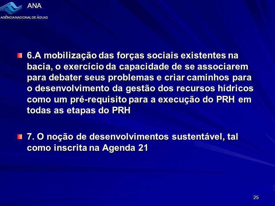 ANA AGÊNCIA NACIONAL DE ÁGUAS 25 6.A mobilização das forças sociais existentes na bacia, o exercício da capacidade de se associarem para debater seus problemas e criar caminhos para o desenvolvimento da gestão dos recursos hídricos como um pré-requisito para a execução do PRH em todas as etapas do PRH 7.