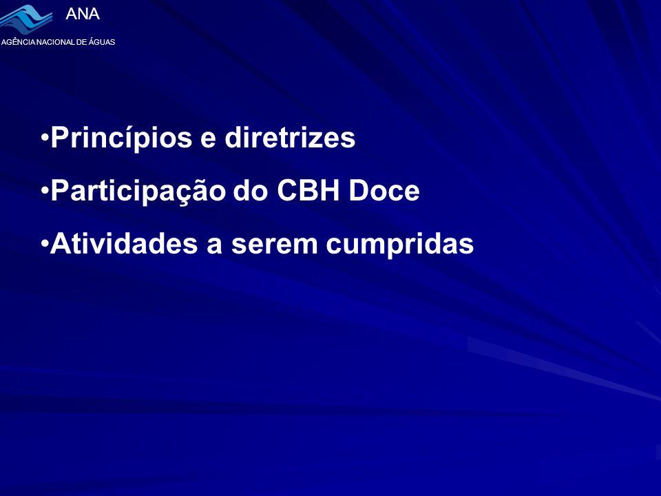 ANA AGÊNCIA NACIONAL DE ÁGUAS Princípios e diretrizes Participação do CBH Doce Atividades a serem cumpridas