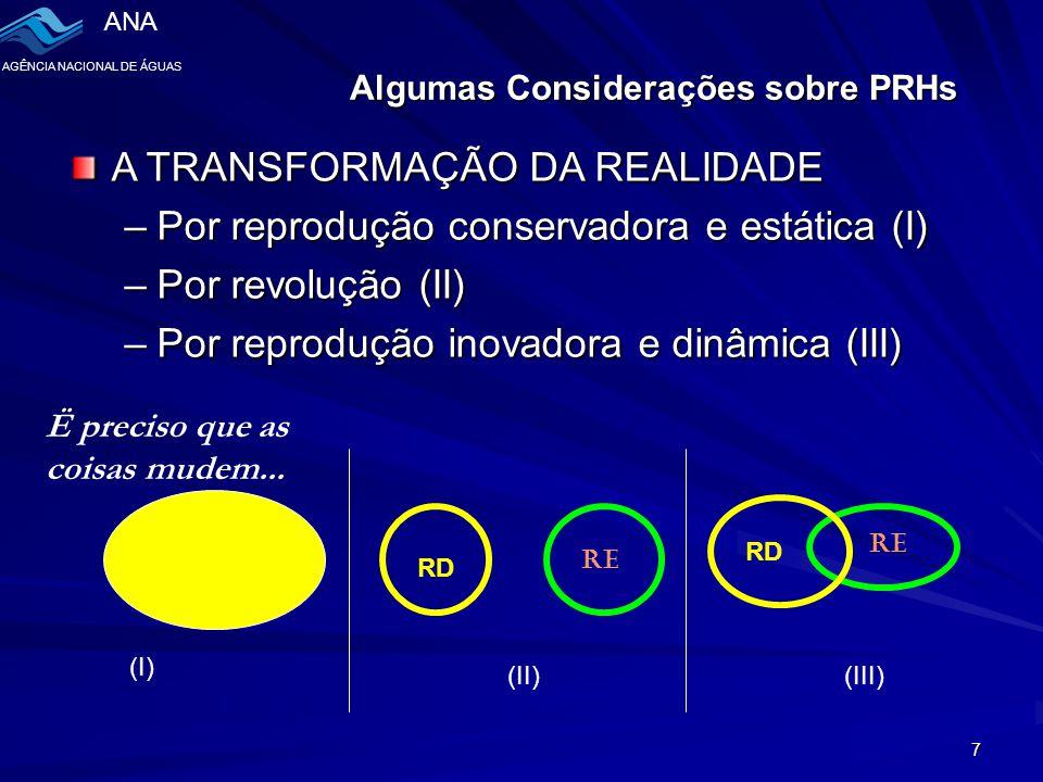 ANA AGÊNCIA NACIONAL DE ÁGUAS 7 A TRANSFORMAÇÃO DA REALIDADE –Por reprodução conservadora e estática (I) –Por revolução (II) –Por reprodução inovadora e dinâmica (III) RE RD RE RD (I) (II)(III) Ë preciso que as coisas mudem...