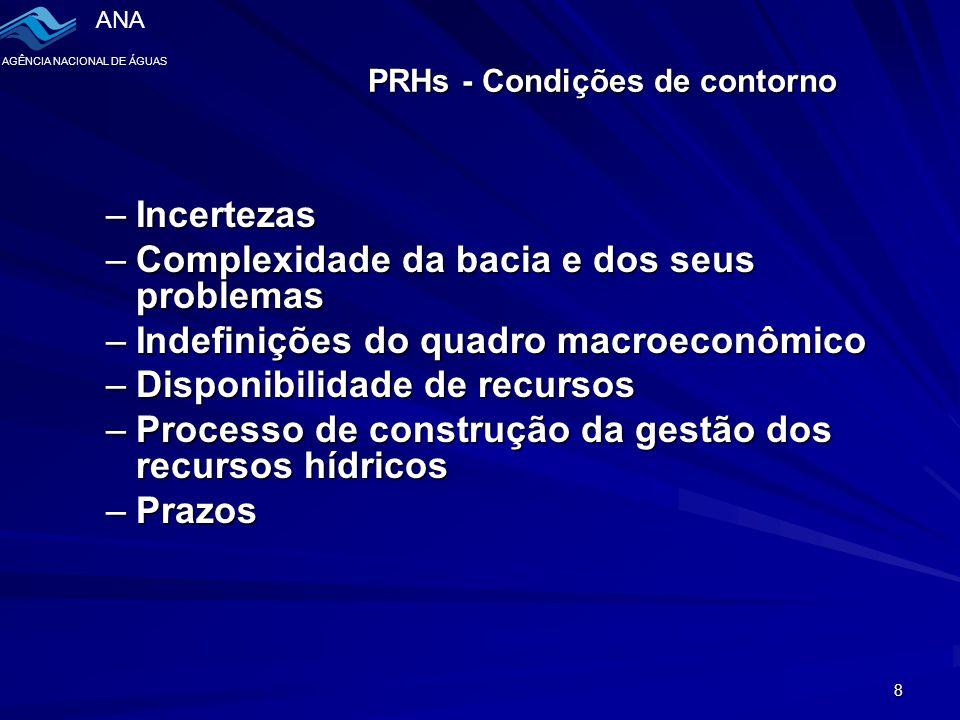 ANA AGÊNCIA NACIONAL DE ÁGUAS 8 PRHs - Condições de contorno –Incertezas –Complexidade da bacia e dos seus problemas –Indefinições do quadro macroeconômico –Disponibilidade de recursos –Processo de construção da gestão dos recursos hídricos –Prazos