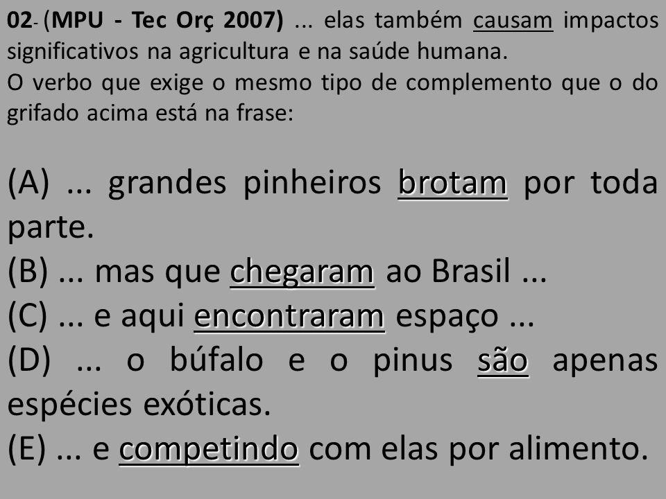 02 - (MPU - Tec Orç 2007)... elas também causam impactos significativos na agricultura e na saúde humana. O verbo que exige o mesmo tipo de complement