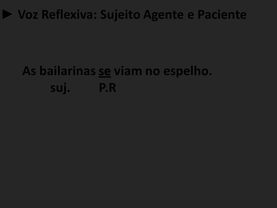 ► Voz Reflexiva: Sujeito Agente e Paciente se As bailarinas se viam no espelho. suj. P.R