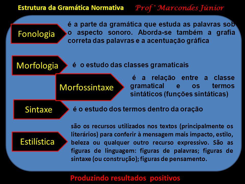 Estrutura da Gramática Normativa Produzindo resultados positivos Prof ° Marcondes Júnior Fonologia Sintaxe Estilística Morfologia Morfossintaxe é a pa