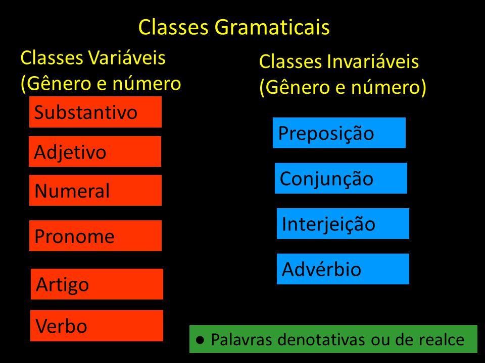 Classes Gramaticais Substantivo Adjetivo Numeral Pronome Artigo Verbo Classes Variáveis (Gênero e número Classes Invariáveis (Gênero e número) Conjunç