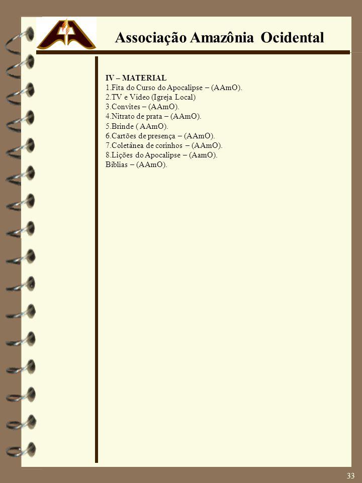 IV – MATERIAL 1.Fita do Curso do Apocalipse – (AAmO). 2.TV e Vídeo (Igreja Local) 3.Convites – (AAmO). 4.Nitrato de prata – (AAmO). 5.Brinde ( AAmO).