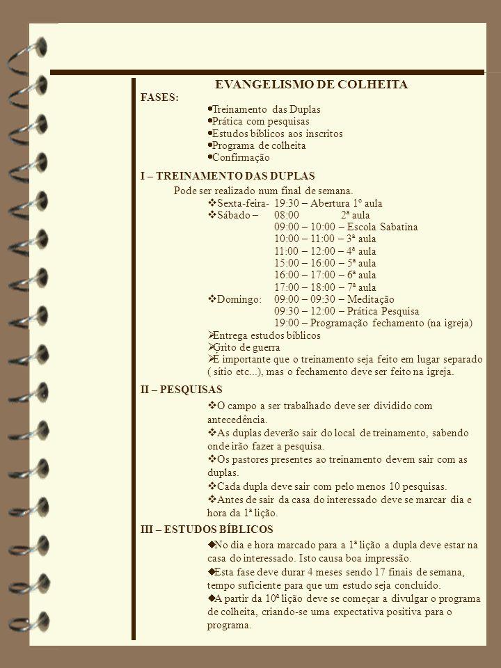 EVANGELISMO DE COLHEITA FASES:  Treinamento das Duplas  Prática com pesquisas  Estudos bíblicos aos inscritos  Programa de colheita  Confirmação
