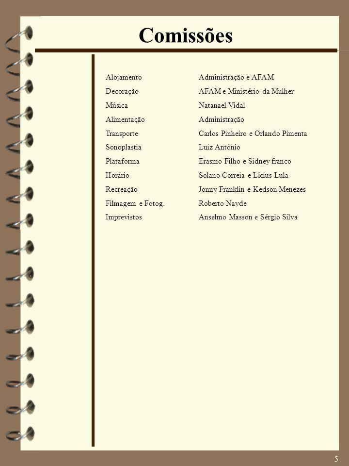 5 Comissões AlojamentoAdministração e AFAM DecoraçãoAFAM e Ministério da Mulher MúsicaNatanael Vidal AlimentaçãoAdministração TransporteCarlos Pinheir