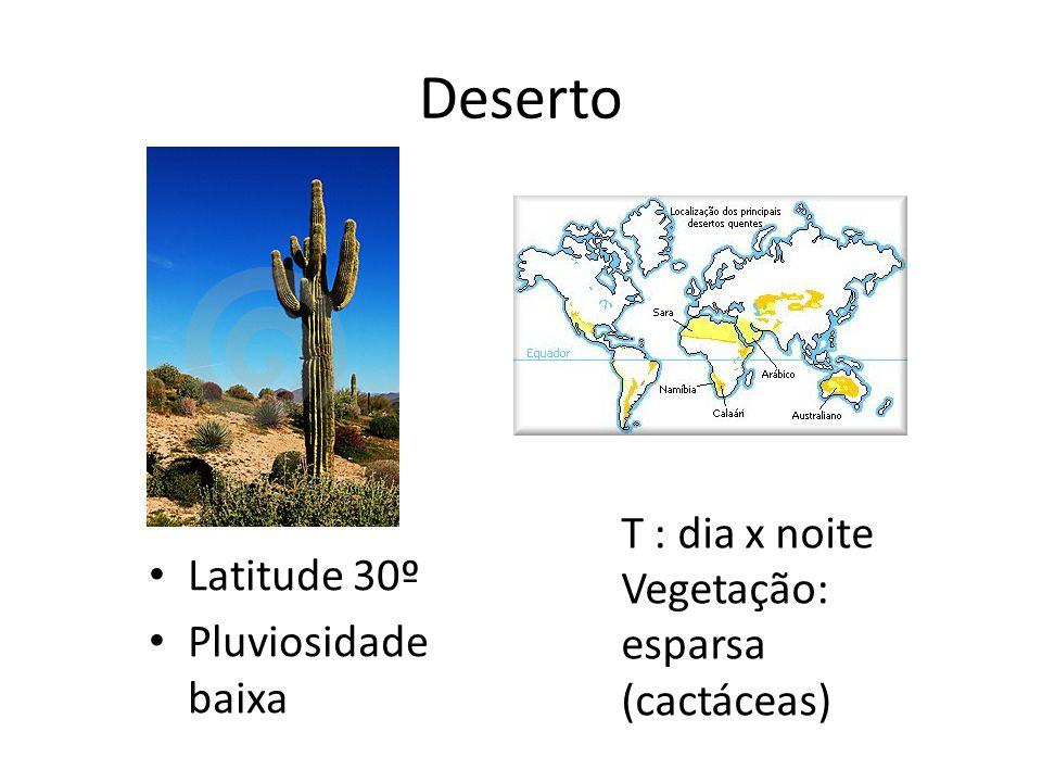 Deserto Latitude 30º Pluviosidade baixa T : dia x noite Vegetação: esparsa (cactáceas)