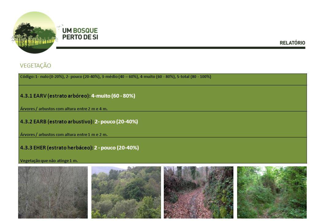 VEGETAÇÃO Código: 1- nulo (0-20%), 2- pouco (20-40%), 3-médio (40 – 60%), 4-muito (60 - 80%), 5-total (80 - 100%) 4.3.1 EARV (estrato arbóreo): 4-muito (60 - 80%) Árvores / arbustos com altura entre 2 m e 4 m.