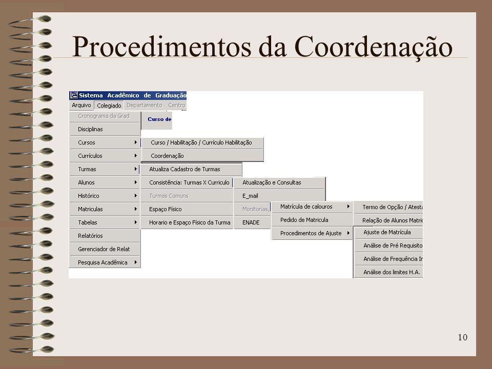 10 Procedimentos da Coordenação