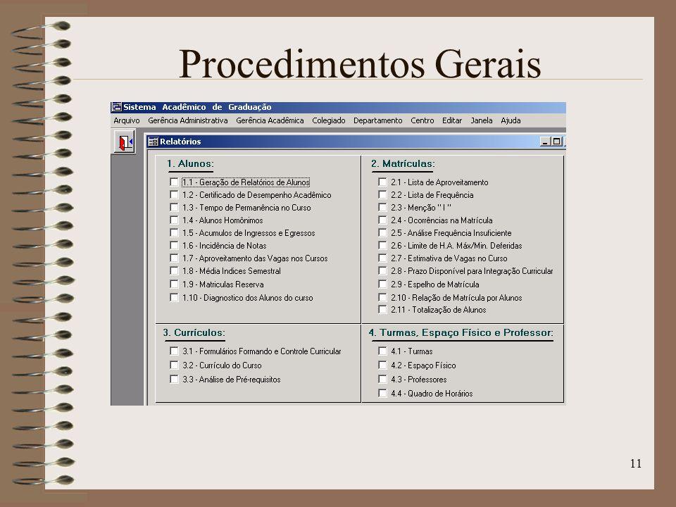 11 Procedimentos Gerais
