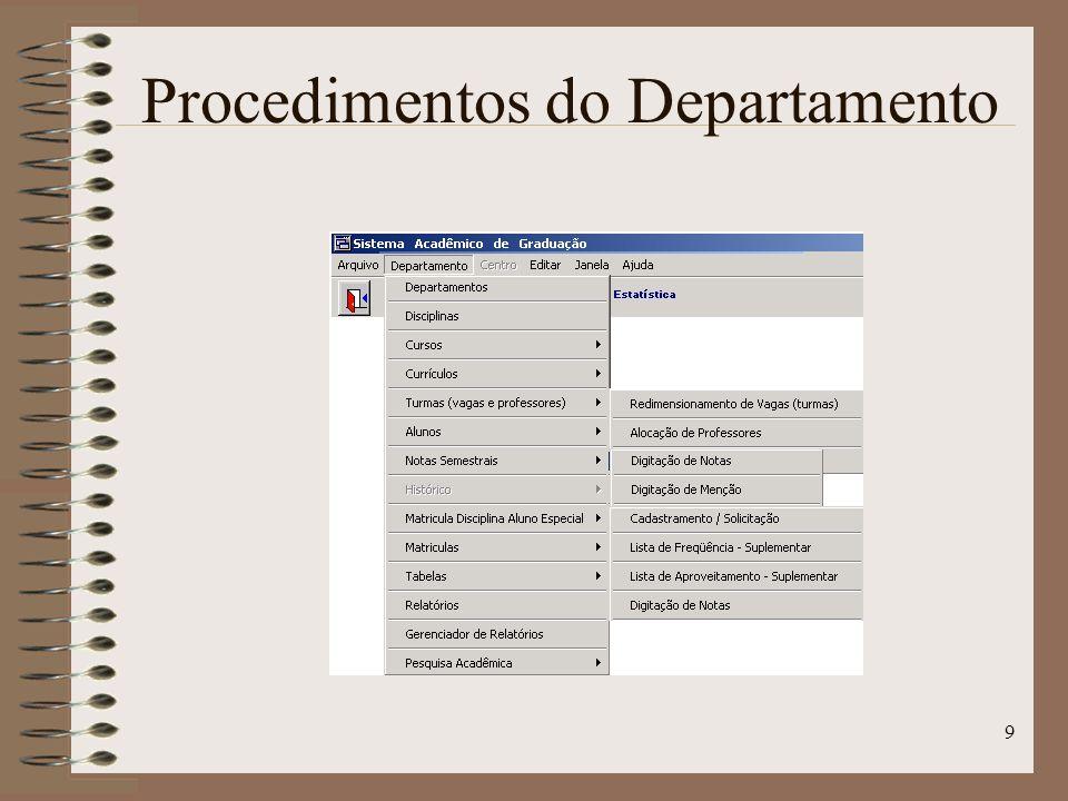 9 Procedimentos do Departamento
