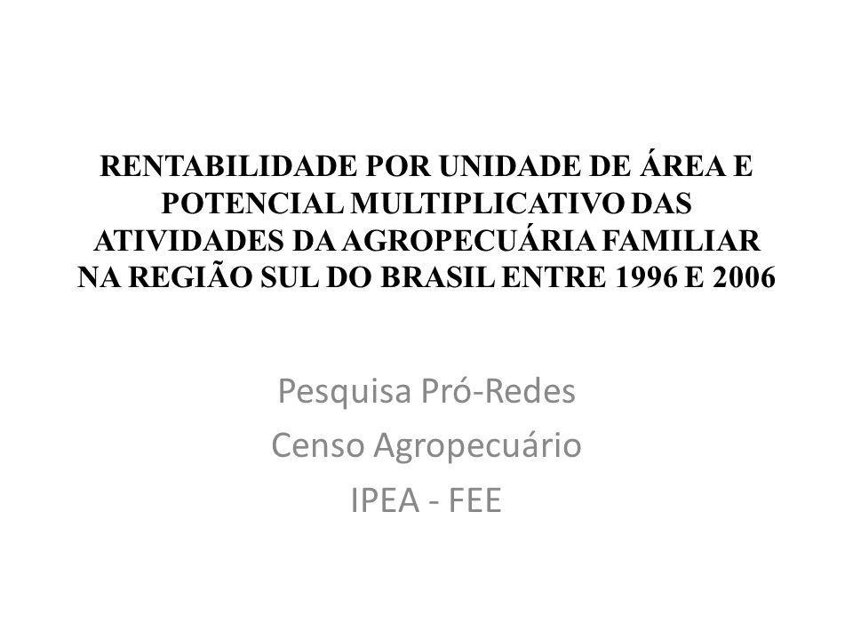 RENTABILIDADE POR UNIDADE DE ÁREA E POTENCIAL MULTIPLICATIVO DAS ATIVIDADES DA AGROPECUÁRIA FAMILIAR NA REGIÃO SUL DO BRASIL ENTRE 1996 E 2006 Pesquisa Pró-Redes Censo Agropecuário IPEA - FEE