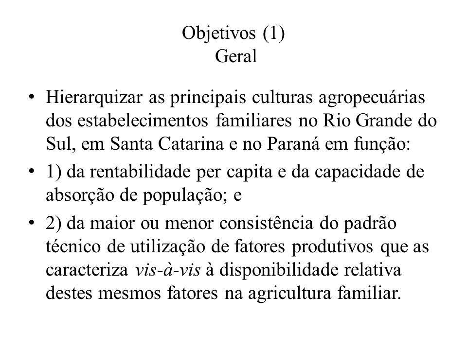 Objetivos (1) Geral Hierarquizar as principais culturas agropecuárias dos estabelecimentos familiares no Rio Grande do Sul, em Santa Catarina e no Par