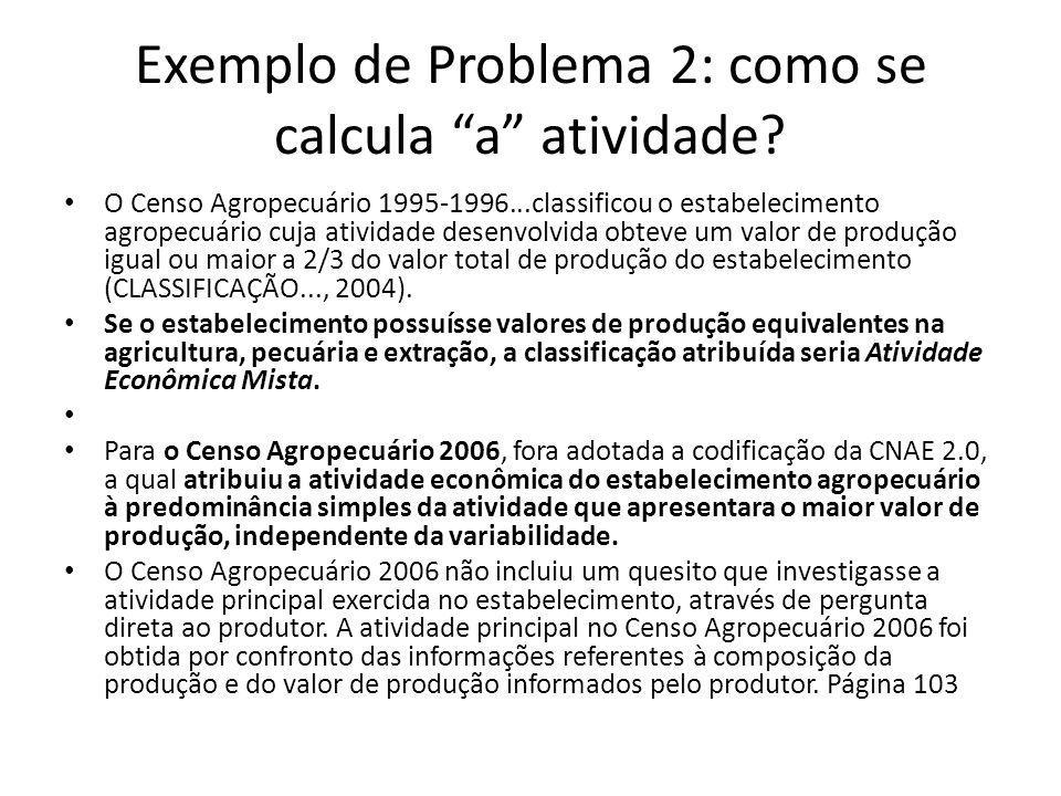 """Exemplo de Problema 2: como se calcula """"a"""" atividade? O Censo Agropecuário 1995-1996...classificou o estabelecimento agropecuário cuja atividade desen"""