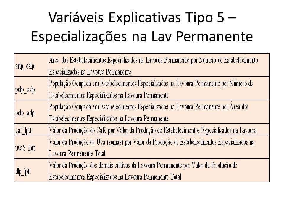 Variáveis Explicativas Tipo 5 – Especializações na Lav Permanente