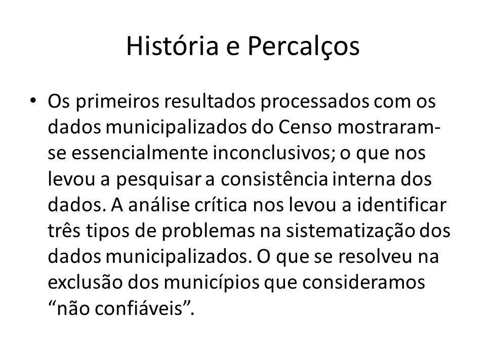 História e Percalços Os primeiros resultados processados com os dados municipalizados do Censo mostraram- se essencialmente inconclusivos; o que nos levou a pesquisar a consistência interna dos dados.