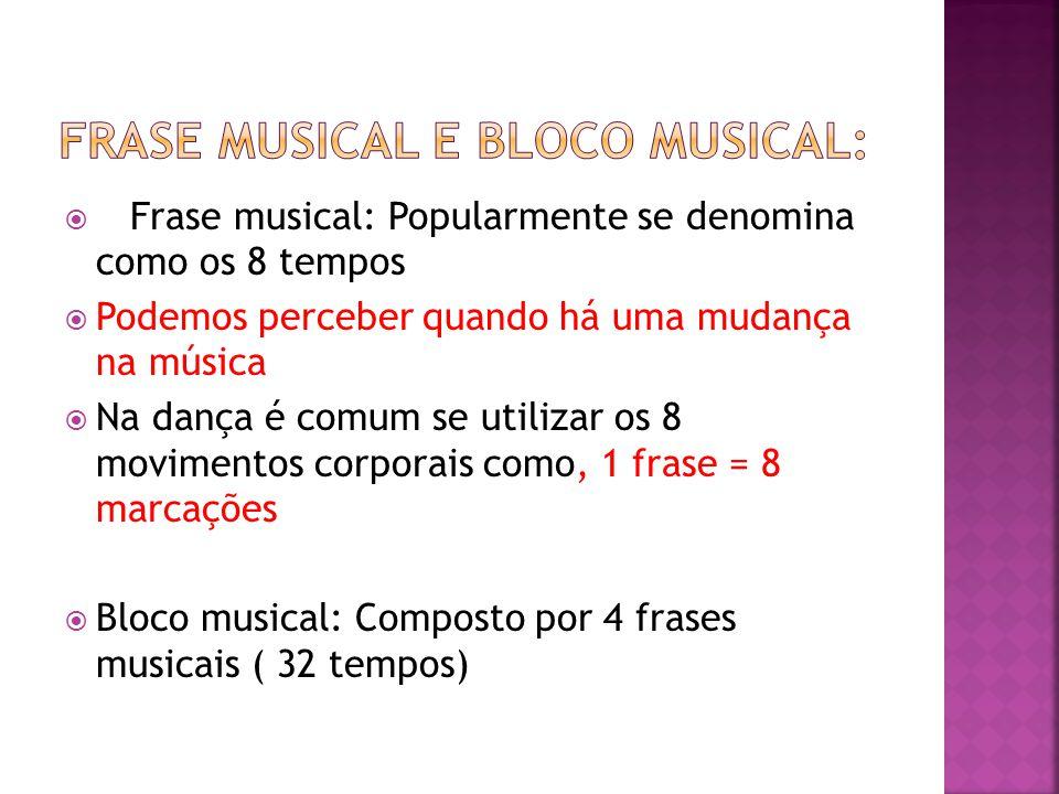  Frase musical: Popularmente se denomina como os 8 tempos  Podemos perceber quando há uma mudança na música  Na dança é comum se utilizar os 8 movi