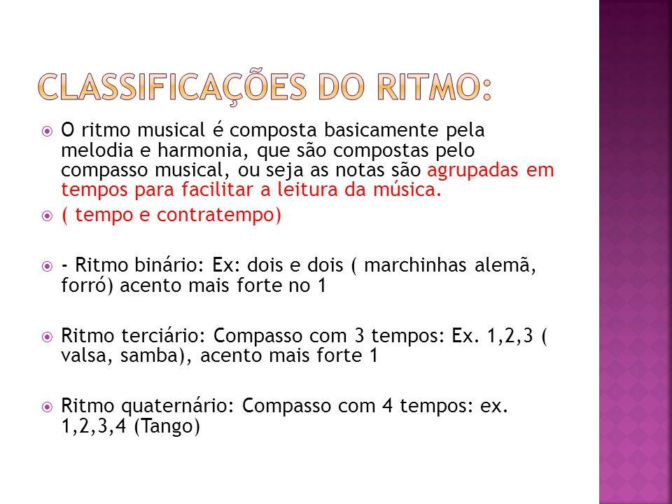  O ritmo musical é composta basicamente pela melodia e harmonia, que são compostas pelo compasso musical, ou seja as notas são agrupadas em tempos pa
