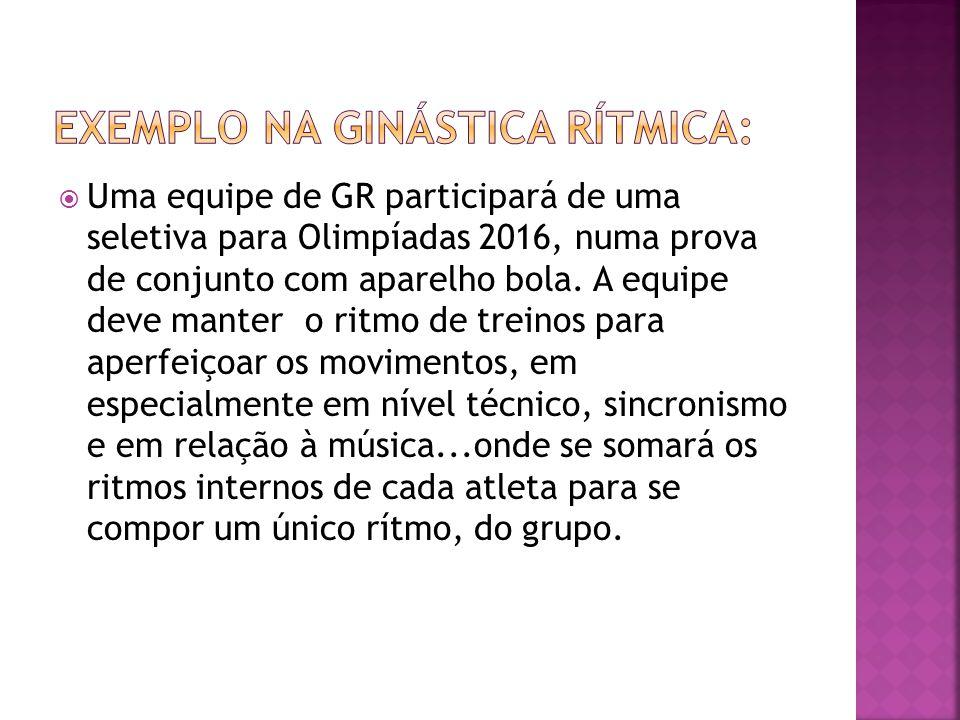  Uma equipe de GR participará de uma seletiva para Olimpíadas 2016, numa prova de conjunto com aparelho bola. A equipe deve manter o ritmo de treinos