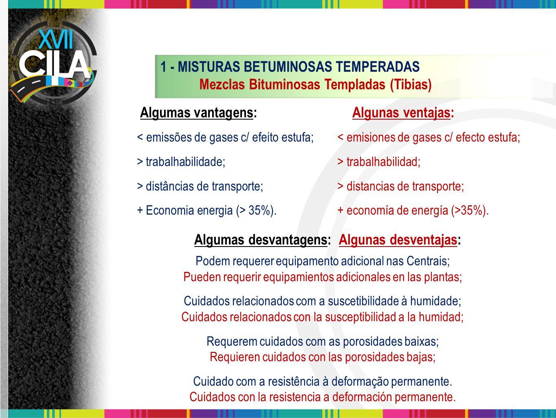 1 - MISTURAS BETUMINOSAS TEMPERADAS Mezclas Bituminosas Templadas (Tibias) < emissões de gases c/ efeito estufa;< emisiones de gases c/ efecto estufa;