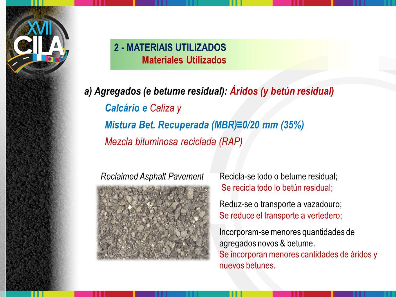 Recicla-se todo o betume residual; Se recicla todo lo betún residual; Reduz-se o transporte a vazadouro; Se reduce el transporte a vertedero; Incorpor