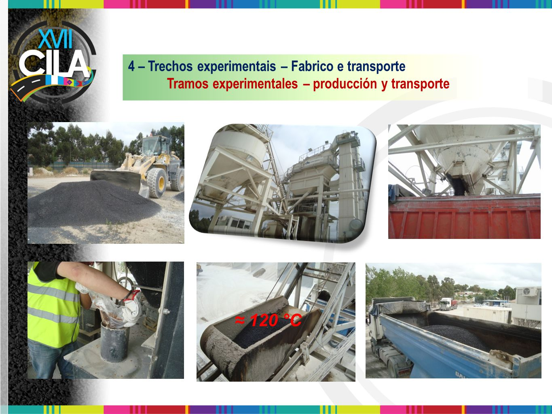 ≈ 120 °C 4 – Trechos experimentais – Fabrico e transporte Tramos experimentales – producción y transporte