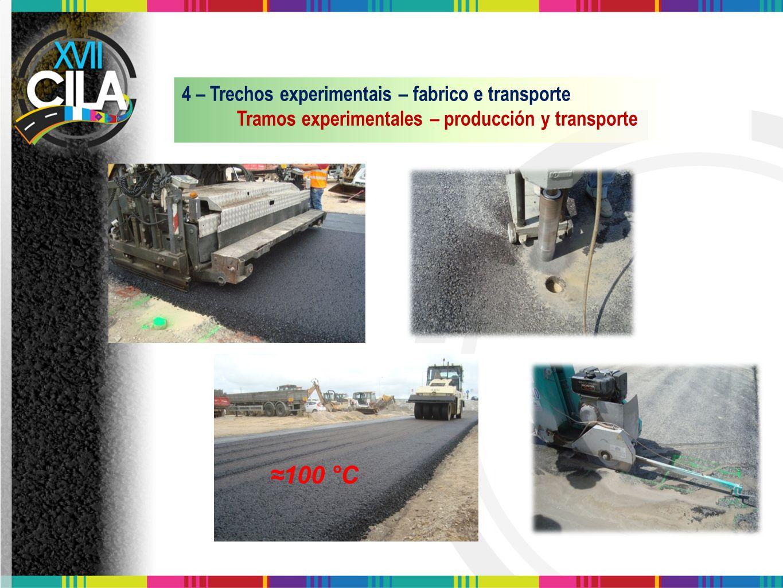 ≈100 °C 4 – Trechos experimentais – fabrico e transporte Tramos experimentales – producción y transporte