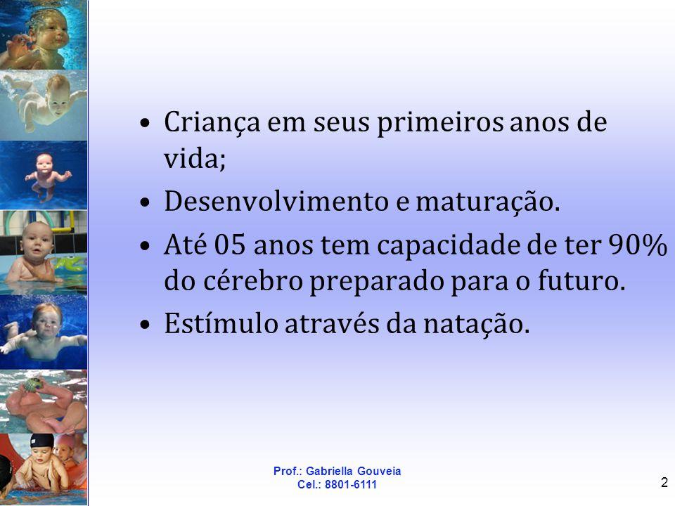 Prof.: Gabriella Gouveia Cel.: 8801-6111 3 Importância Natação -> excelente atividade motora; Crianças desde a mais tenra idade experimentam motricidade aquática dinâmica.