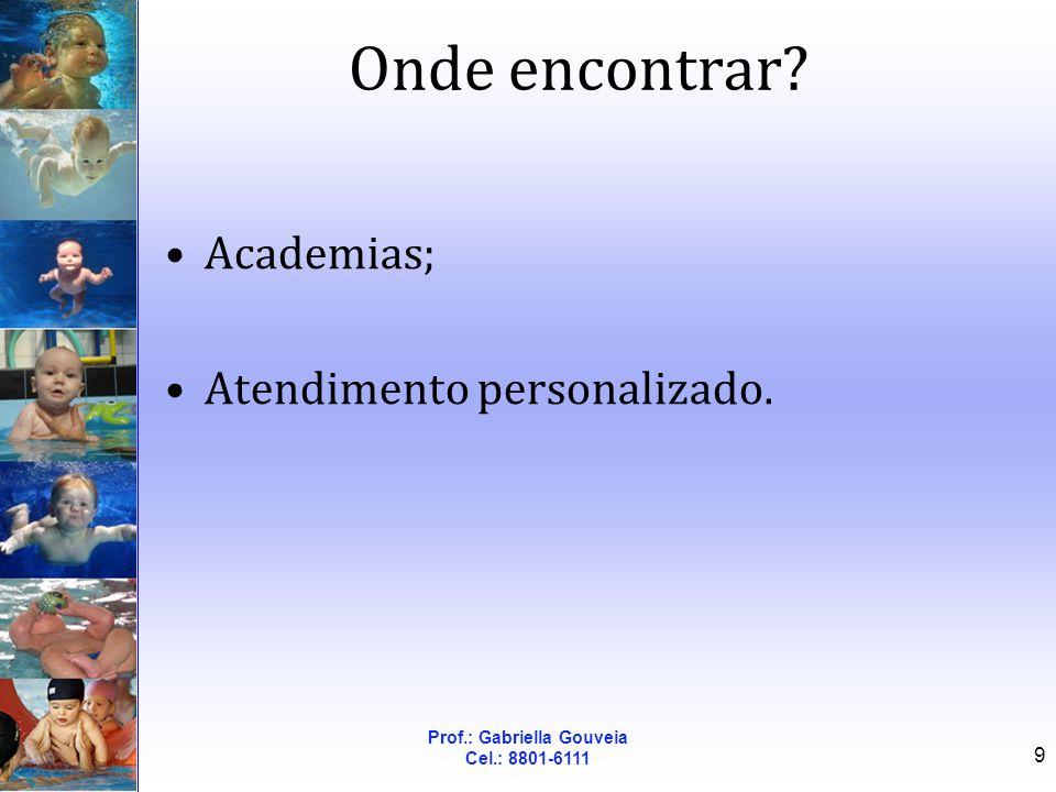Prof.: Gabriella Gouveia Cel.: 8801-6111 9 Onde encontrar? Academias; Atendimento personalizado.