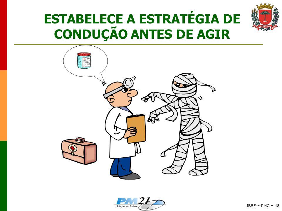 JBSF – PMC – 48 ESTABELECE A ESTRATÉGIA DE CONDUÇÃO ANTES DE AGIR