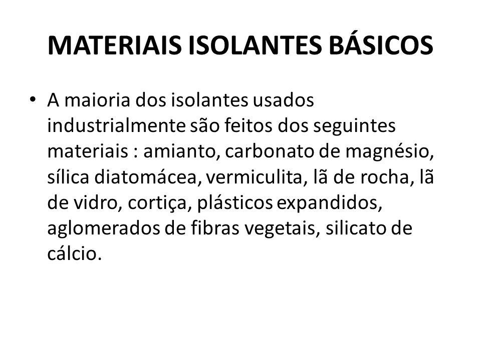 MATERIAIS ISOLANTES BÁSICOS A maioria dos isolantes usados industrialmente são feitos dos seguintes materiais : amianto, carbonato de magnésio, sílica