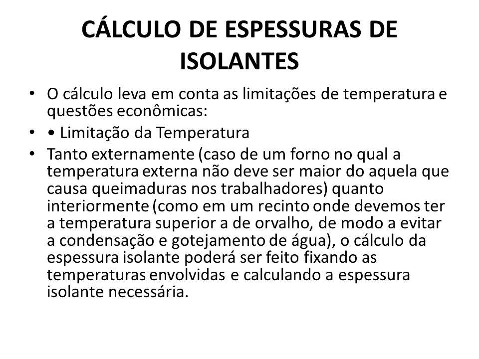 CÁLCULO DE ESPESSURAS DE ISOLANTES O cálculo leva em conta as limitações de temperatura e questões econômicas: Limitação da Temperatura Tanto externam