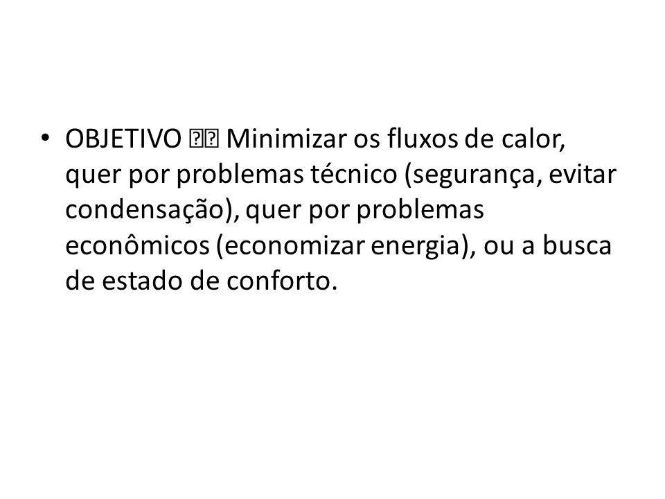 OBJETIVO Minimizar os fluxos de calor, quer por problemas técnico (segurança, evitar condensação), quer por problemas econômicos (economizar energia),