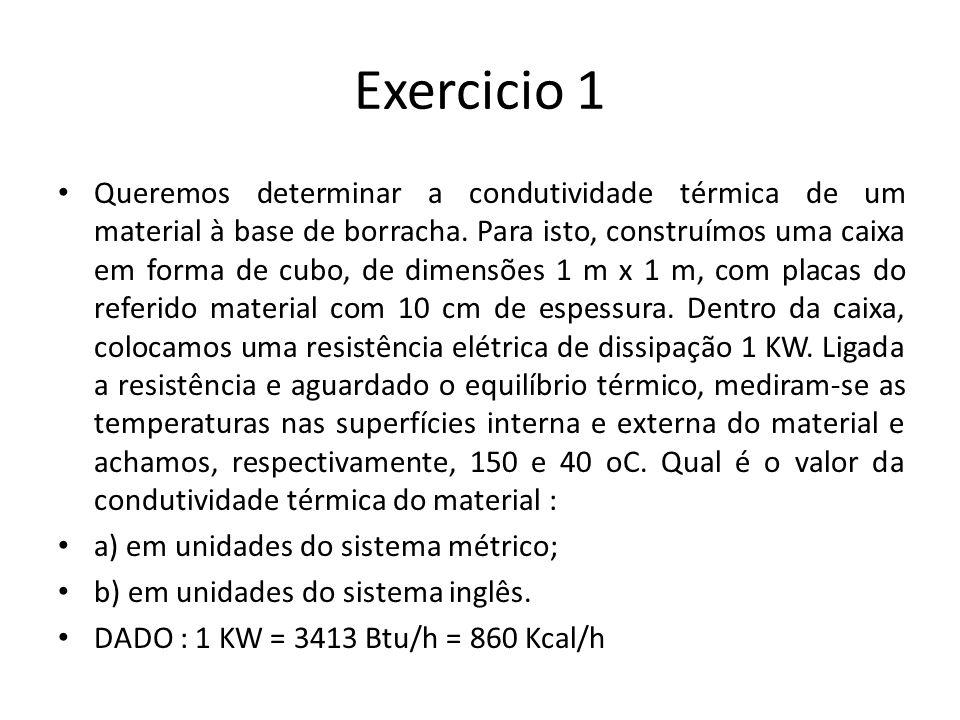 Exercicio 1 Queremos determinar a condutividade térmica de um material à base de borracha. Para isto, construímos uma caixa em forma de cubo, de dimen