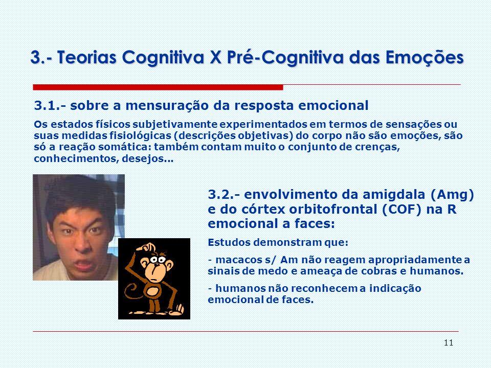 10 3.- Teorias Cognitiva X Pré-Cognitiva das Emoções Teoria Pré-Cognitiva Zajong (1984): os afetos e a cognição são sistemas separados e parcialmente
