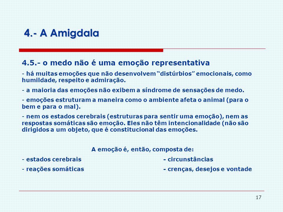 16 4.- A Amigdala 4.4.- a avaliação cognitiva na experiência emocional A Avaliação Cognitiva é mais importante para sentir e expressar a empção, já o