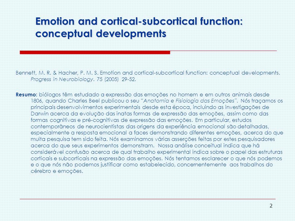 1 Emoção e função cortical-subcortical: Desenvolvimentos conceituais Disciplina PSE5778 Comportamento Humano: Origens Evolutivas Emma Otta - Fernando