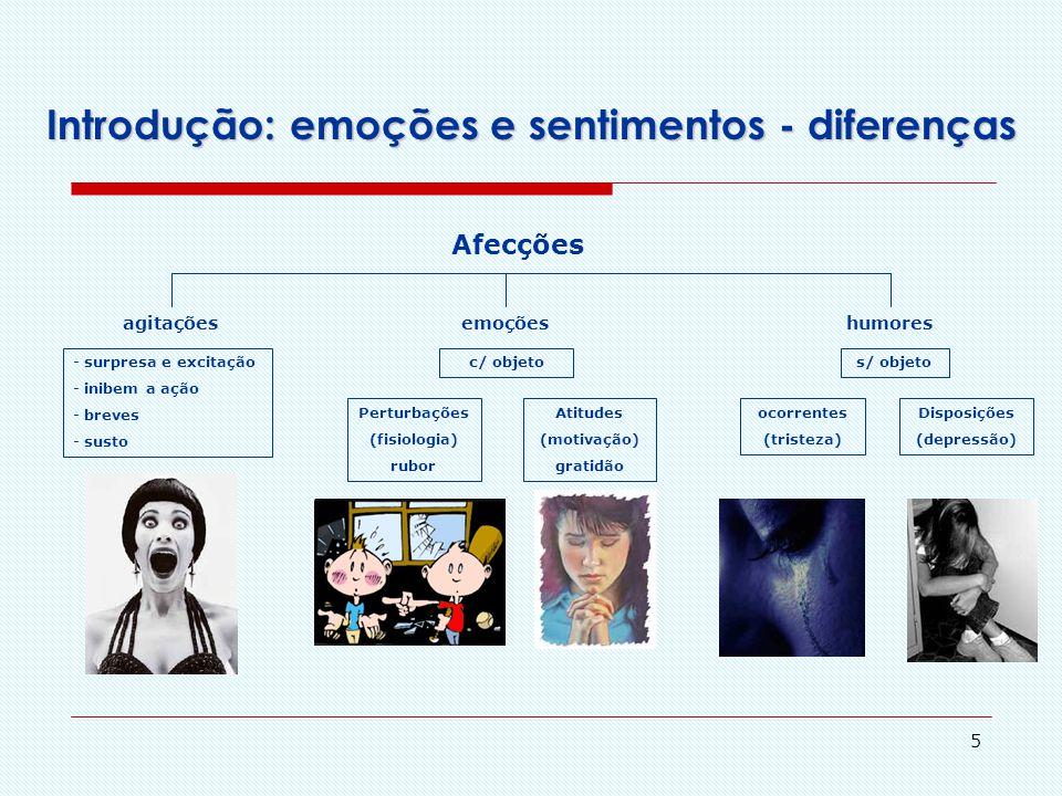 """4 Introdução: emoções e sentimentos - diferenças Sentimentos SensaçõesPercepções táteisAfecçõesApetites - gerais e localizadas - s/ valor lógico - """"em"""