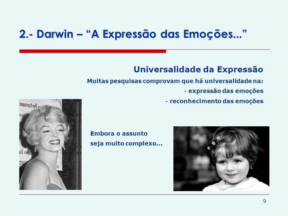 """8 2.- Darwin – """"A Expressão das Emoções..."""" 1872 – Comportamento Expressivo Argumento do livro: a expressão das emoções e as emoções primitivas básica"""