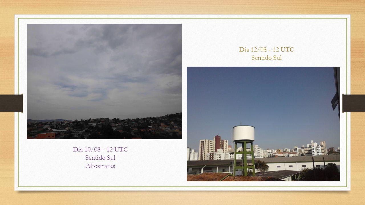 Dia 10/08 - 12 UTC Sentido Sul Altostratus Dia 12/08 - 12 UTC Sentido Sul
