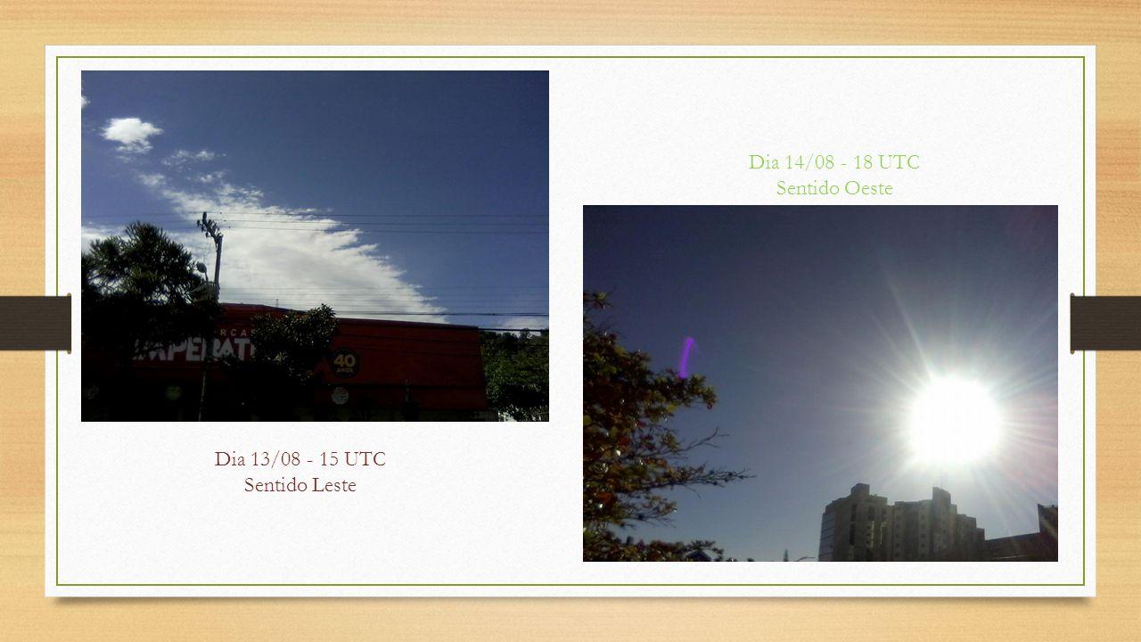 Dia 13/08 - 15 UTC Sentido Leste Dia 14/08 - 18 UTC Sentido Oeste