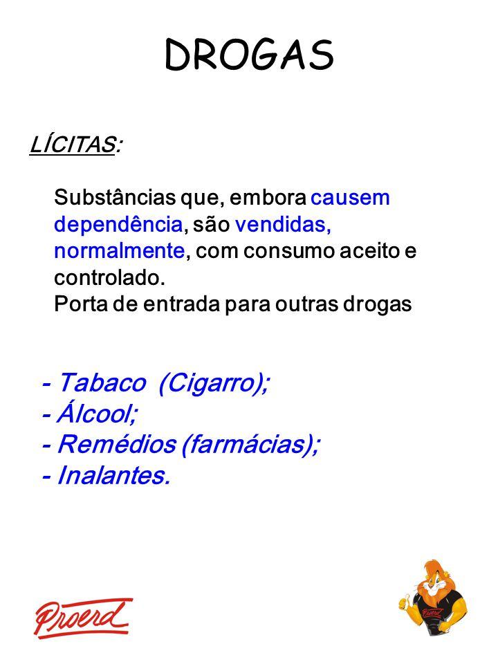 DROGAS LÍCITAS: Substâncias que, embora causem dependência, são vendidas, normalmente, com consumo aceito e controlado. Porta de entrada para outras d