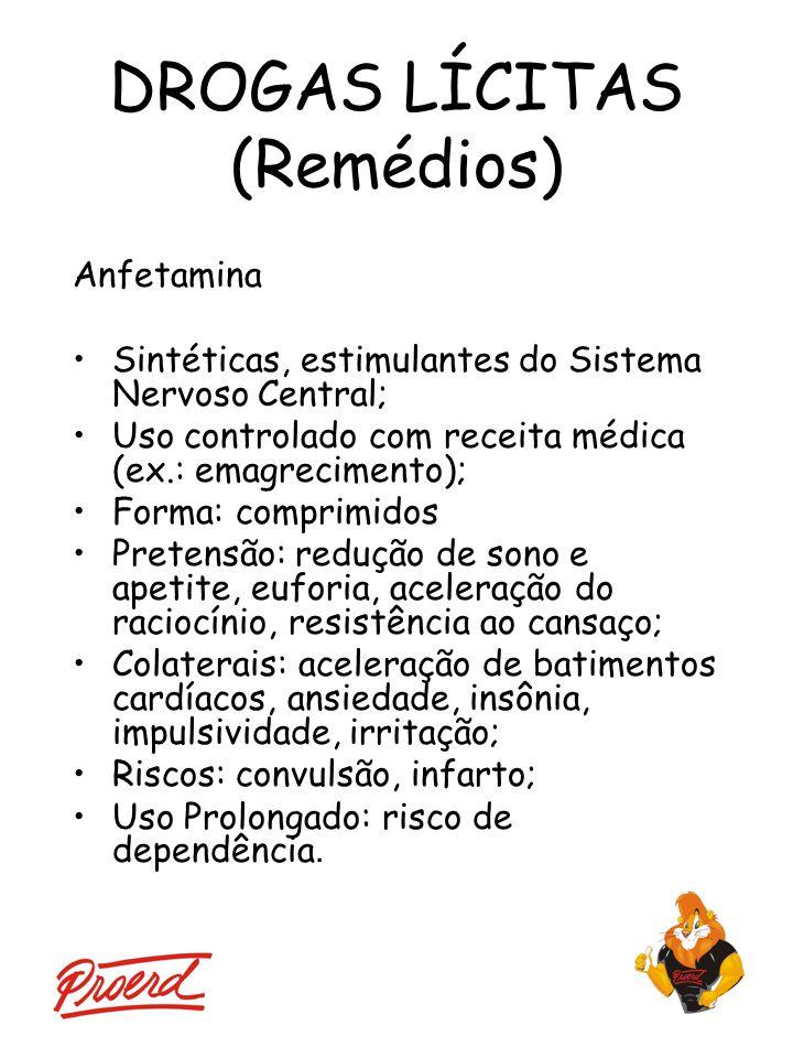 DROGAS LÍCITAS (Remédios) Anfetamina Sintéticas, estimulantes do Sistema Nervoso Central; Uso controlado com receita médica (ex.: emagrecimento); Form