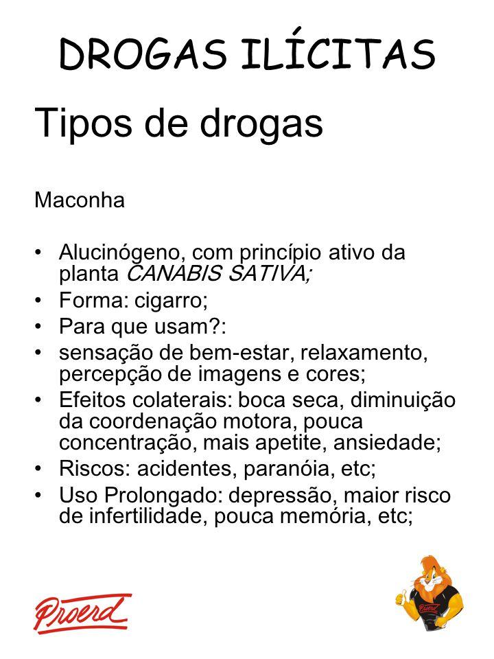 DROGAS ILÍCITAS Tipos de drogas Maconha Alucinógeno, com princípio ativo da planta CANABIS SATIVA; Forma: cigarro; Para que usam?: sensação de bem-est