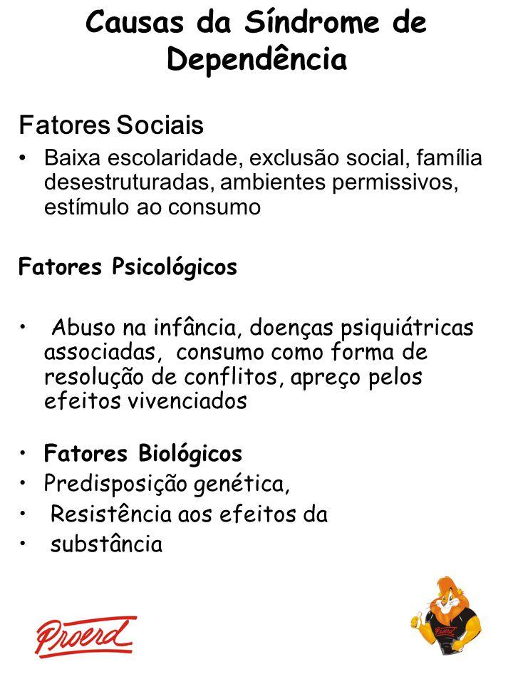 Fatores Sociais Baixa escolaridade, exclusão social, família desestruturadas, ambientes permissivos, estímulo ao consumo Fatores Psicológicos Abuso na
