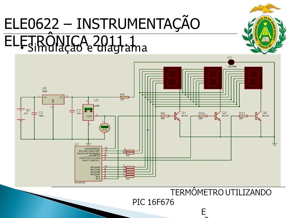 ELE0622 – INSTRUMENTAÇÃO ELETRÔNICA 2011.1 TERMÔMETRO UTILIZANDO PIC 16F676 E SENSOR DE PRECISÃO DE TEMP. LM35 Simulação e diagrama