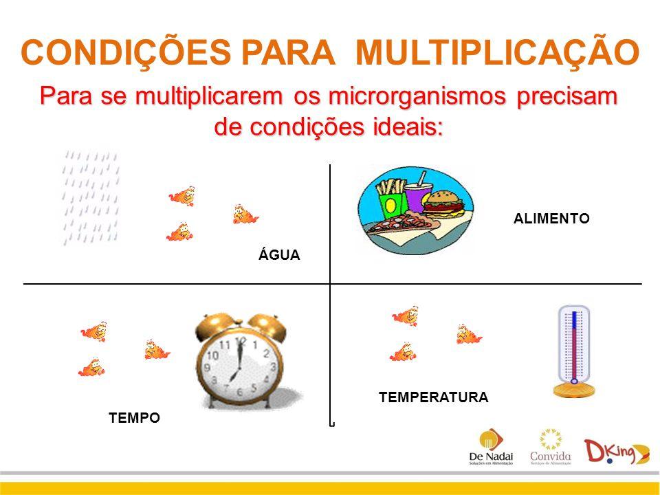 CONDIÇÕES PARA MULTIPLICAÇÃO Para se multiplicarem os microrganismos precisam de condições ideais: ALIMENTO TEMPO TEMPERATURA ÁGUA