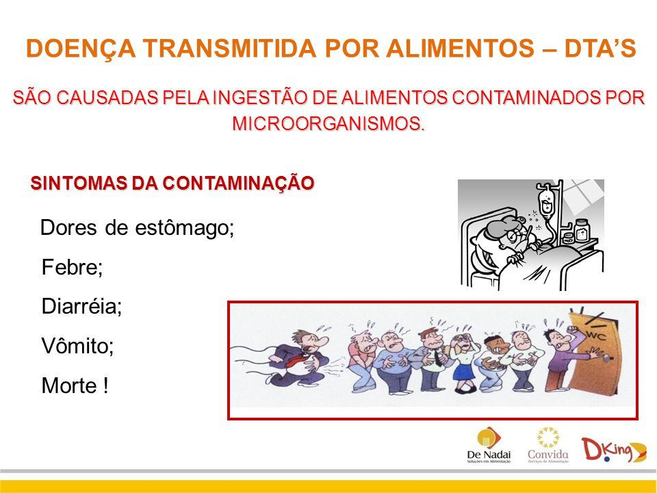 DOENÇA TRANSMITIDA POR ALIMENTOS – DTA'S SÃO CAUSADAS PELA INGESTÃO DE ALIMENTOS CONTAMINADOS POR MICROORGANISMOS. SINTOMAS DA CONTAMINAÇÃO Dores de e